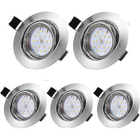 LED spot Encastrable pour salle de bain, 5 X 5W GU10 Spots de Plafond IP44 3000K 500LM Lampe Plafonnier 30°Orientable 120°d éclairage pour Salle de Bain Salon Cuisine Couloir Galerie Magasin