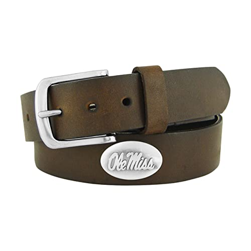 NCAA Mississippi Old Miss Rebels Full Grain Leather Braided Concho Belt