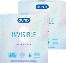 Condoms, Ultra Thin and Ultra Sensitive Lubricated Natural Rubber Latex, Durex Invisible Condoms, 32 Count, Thin Condoms for Men, FSA & HSA Eligible