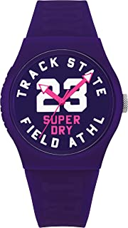 Superdry Unisex-Adult Quartz Urban Track and Field Unisex Analog Quartz Purple Dial Watch with Purple Silicone Strap Analog Display and Silicone Strap, SYL182VV