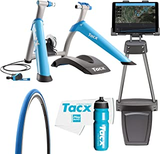 TacX Satori Smart Trainer Bundle with TacX/PlayBetter Premium 750ml Cycling Water Bottle, TacX Trainer Race Tire, Floor Tablet Stand & Large Trainer Towel | Manual Control | Indoor Cycling