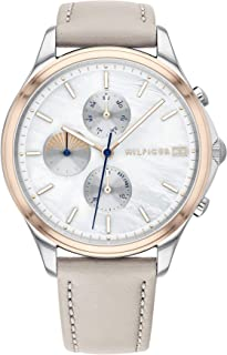 Tommy Hilfiger Women'S White Mother Of Pearl Dial Grey Leather Watch - 1782118