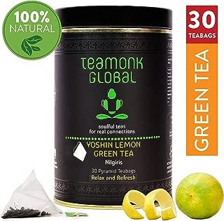 Teamonk Yoshin Nilgiri Lemon Green Tea Bags - 30 Teabags   Tea for Relaxation   Refreshing Tea   Natural Lemon Zest Tea   No Additives