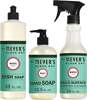 Mrs. Meyer's Clean Day Kitchen Basics Set, Basil, 3 ct: Dish Soap (16 fl oz), Hand..