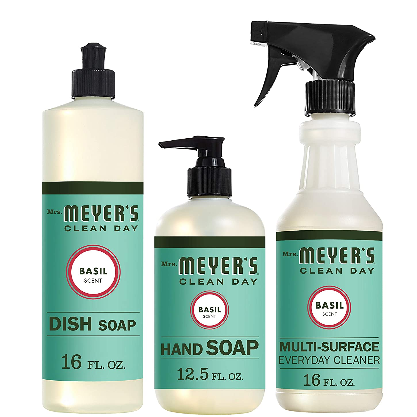 Mrs。Meyers Clean Dayキッチン基本セット、バジル、Includes : Dish Soap (16?fl oz)、Hand Soap (12.5オンス、日常Multi - Surface Cleaner (16?fl oz)