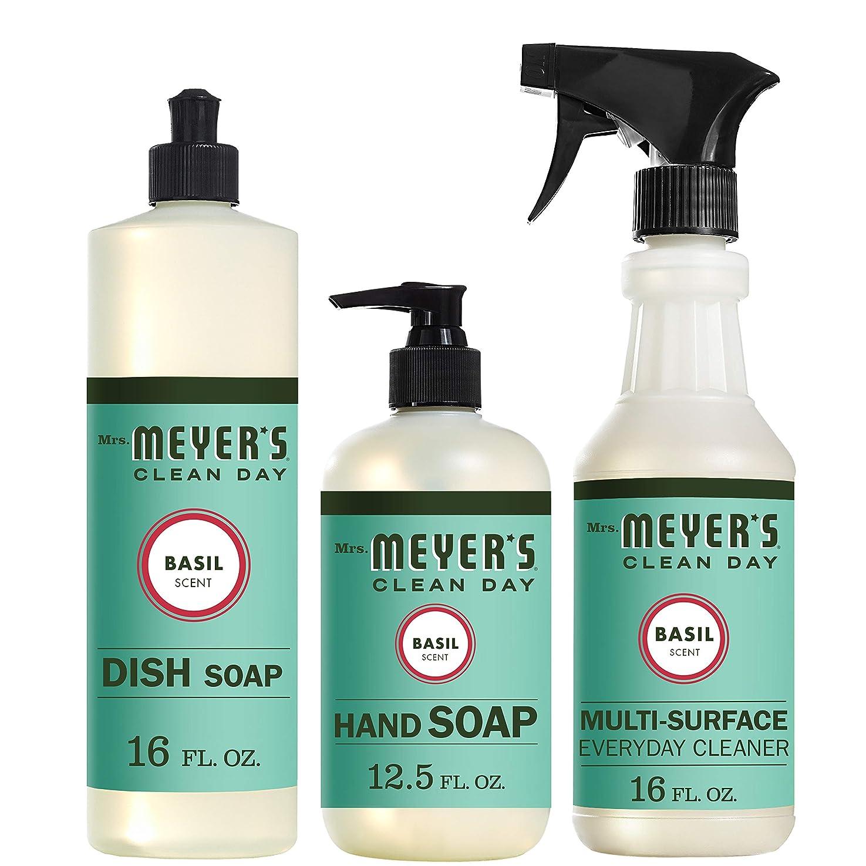 隠す引き出すおしゃれじゃないMrs。Meyers Clean Dayキッチン基本セット、バジル、Includes : Dish Soap (16?fl oz)、Hand Soap (12.5オンス、日常Multi - Surface Cleaner (16?fl oz)