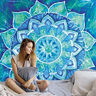 Gelite Blue Trippy Boho Floral Mandala Tapestry Wall Hanging for Bedroom Wall Décor Art for Living Room