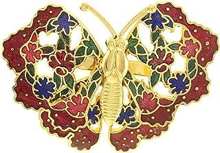 behave® Donne Broche en Forme de Papillon Fatto di Smalto - Rosso - 4,5cm Dimensione