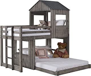DONCO Twin over Full Campsite Loft BUNKBED Rustic Dirty Grey
