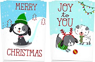 Hallmark Christmas Cards Assortment, Snow Dogs (6 Holiday Cards with Envelopes)