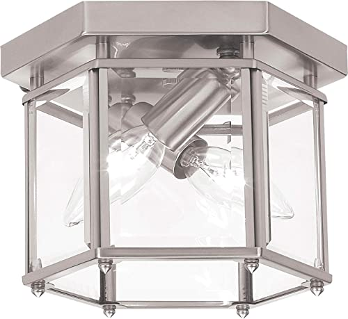 lowest Sea 2021 Gull Lighting 7647-962 Bretton Two-Light discount Ceiling Flush Mount Fixture, Brushed Nickel Finish outlet sale