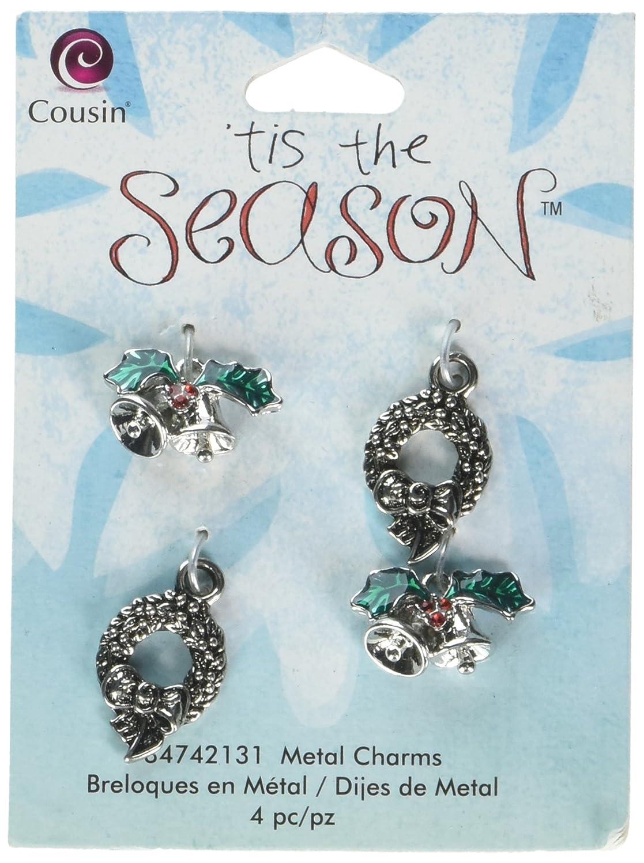 Tis The Season Metal Charms-Wreath/Bell