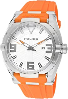 Men's 13093JS-04A Raptor Orange/Silver Silicone Watch