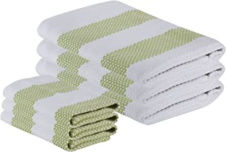 """The Weaver's Blend Set of 3 Kitchen Towels + 3 Dish Cloths, Basket Weave, 100% Cotton, Absorbent, Size 28""""x18"""" and 12'x12"""", Green Stripe,Kitchen Towels and Dish Cloths"""