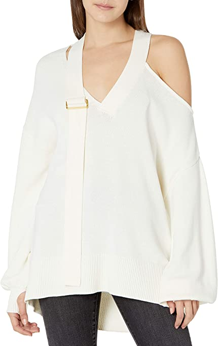 The Drop Women's @lucyswhims V-Neck Buckle Slouchy Sweater