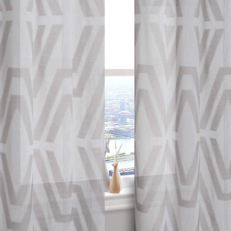 Central Park Gray White Sheer Window Curtain Jac Dallas half Mall Panel Geometric