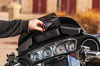 Kuryakyn 5261 Batwing Fairing Storage Pouch Bag with Magnetic Closures for 2014-19 Harley-Davidson Motorcycles, Black