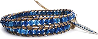 BLUEYES COLLECTION 2 Wrap Leather Bracelet Leaf Choker Necklace - Blue Star - Faceted Agate Beaded Stainless Steel Button