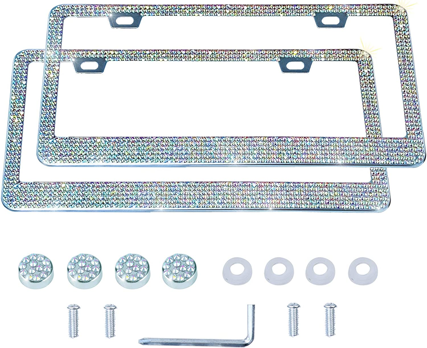LivTee Luxury Rhinestone License Plate Frame Bling Car Accessories for Women, Funny Glitter Stainless Steel Cover 1000+ Cute Crystal Diamond Licenses Plates Holder with Cap Screws Set(Color)