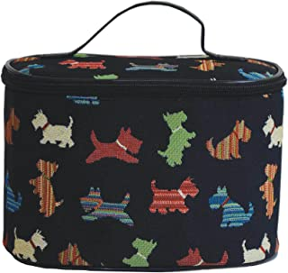 Signare Women's Black Round Large Cosmetic Bag Travel Makeup Organiser Case Handle with Scottie Dog (TOIL-SCOT)