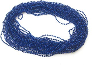 72 Pieces 33 inch 07mm Metallic Blue Color Mardi Gras Beads Beaded Necklace Ideal for New Years Eve, Anniversary Party, Party Favors, Gender Reveal, and Table Centerpiece Decorations