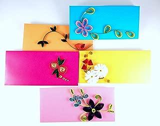 Sarvam Fancy Cash Envelopes, Quilled Envelope Pack of 5 Quilled Cash Envelopes for Auspicious Occasions Diwali Birthday Wedding Anniversary Designer Envelopes Paper Quilling Envelopes