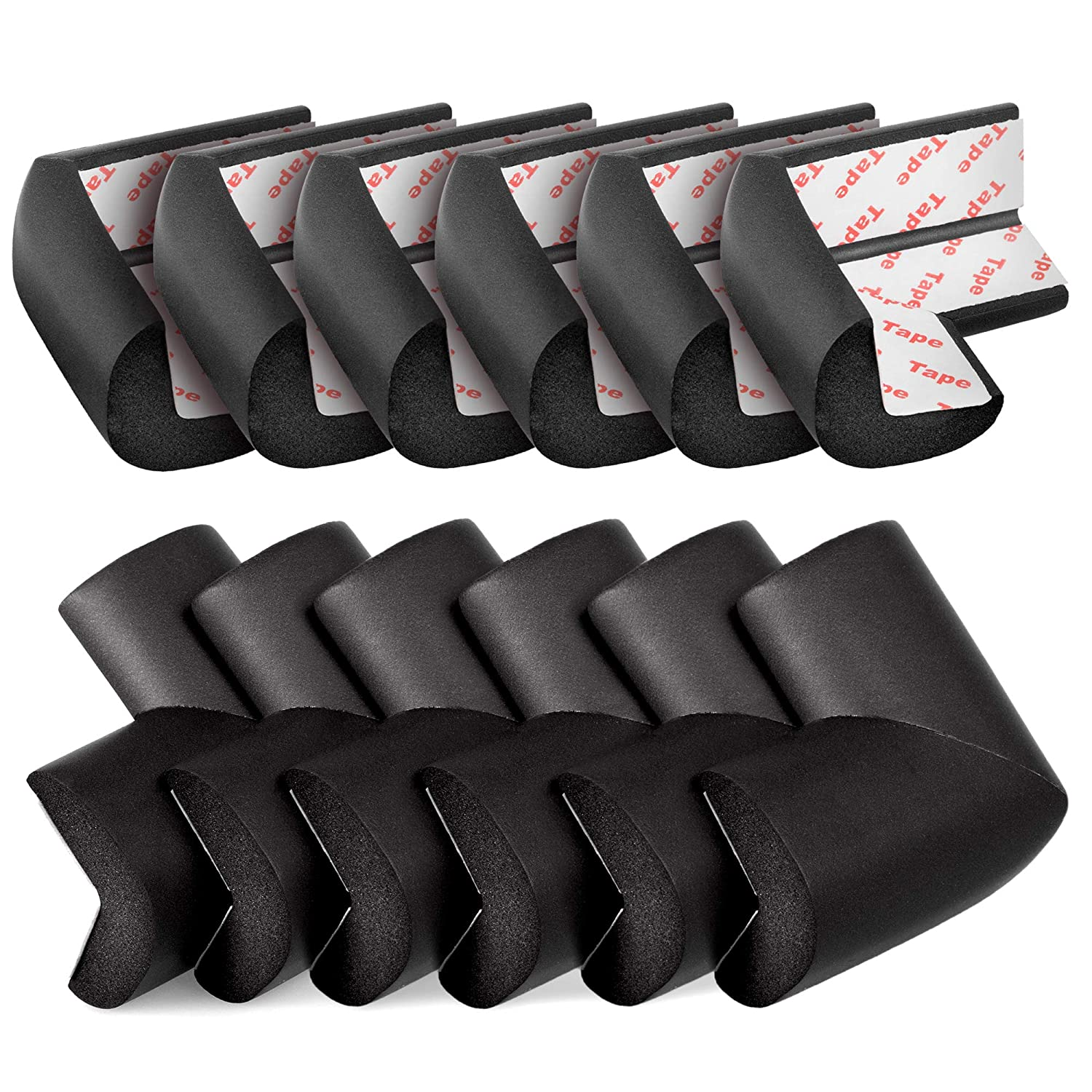 TILLYOU Corner Protector (12 Pack) Baby Proofing Edge and Corner Guards Foam, Table Safety Bumpers, Pre-Taped Furniture Corner Cushion (Black)