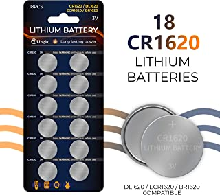 Pack of 18 Volt Button Cell Lithium Batteries | BR1620-1W, CR1620-1W, KCR1620, LM1620, 5009LC, L08 Batteries | Lightweight, High Voltage and High Energy Density| For Calculators, Toys, Watch and Weara