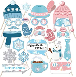 Kristin Paradise 25Pcs Winter Wonderland Photo Booth Props with Stick, Snow Theme Selfie Props, Snowflake Christmas Birthday Party Supplies, Snowman Photography Backdrop Decorations for Kids, Baby Shower