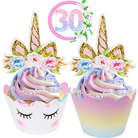 Unicorn Cupcack 12 Topper And 12 Wrapper 1 pack 24ea