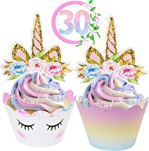 Unicorn Cupcake Toppers and Wrappers Decorations (30 of Each) - Reversible Rainbow Cup Cake Liners with Unicorn Topper | C...