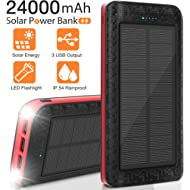 Solar Charger 24000mAh, Portable Phone Charger External Battery Pack Backup Charger, High-Speed...