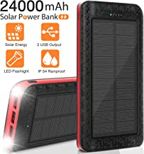 Solar Charger 24000mAh, Portable Phone Charger External Battery Pack Backup Charger, High-Speed 5V/2.1A Tri-USB Output Ports, Flashlight, IPX5 Rainproof for Camping, Travel, Emergency