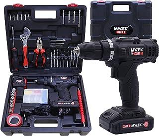 MYLEK Cordless Drill Set 18v Electric Driver DIY Combi Screwdriver Tool Kit, 1500mAh Li-Ion Battery, Variable Speed, LED L...