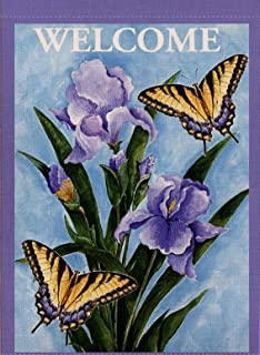 Dyrenson Home Decorative Outdoor Welcome Quote Garden Flag Double Sided, Flower House Yard Flag, Floral Pansies Garden Yard Decorations, Butterfly Seasonal Outdoor Flag 12 x 18 for Summer Spring
