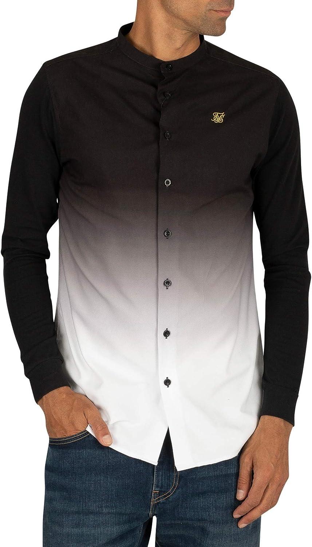 Sik Silk de los Hombres Fade Grandad Shirt, Negro