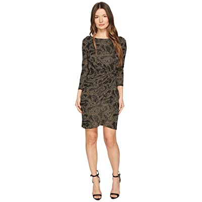 Just Cavalli Jersey Long Sleeve Snake Jacquard Print Dress (Black) Women