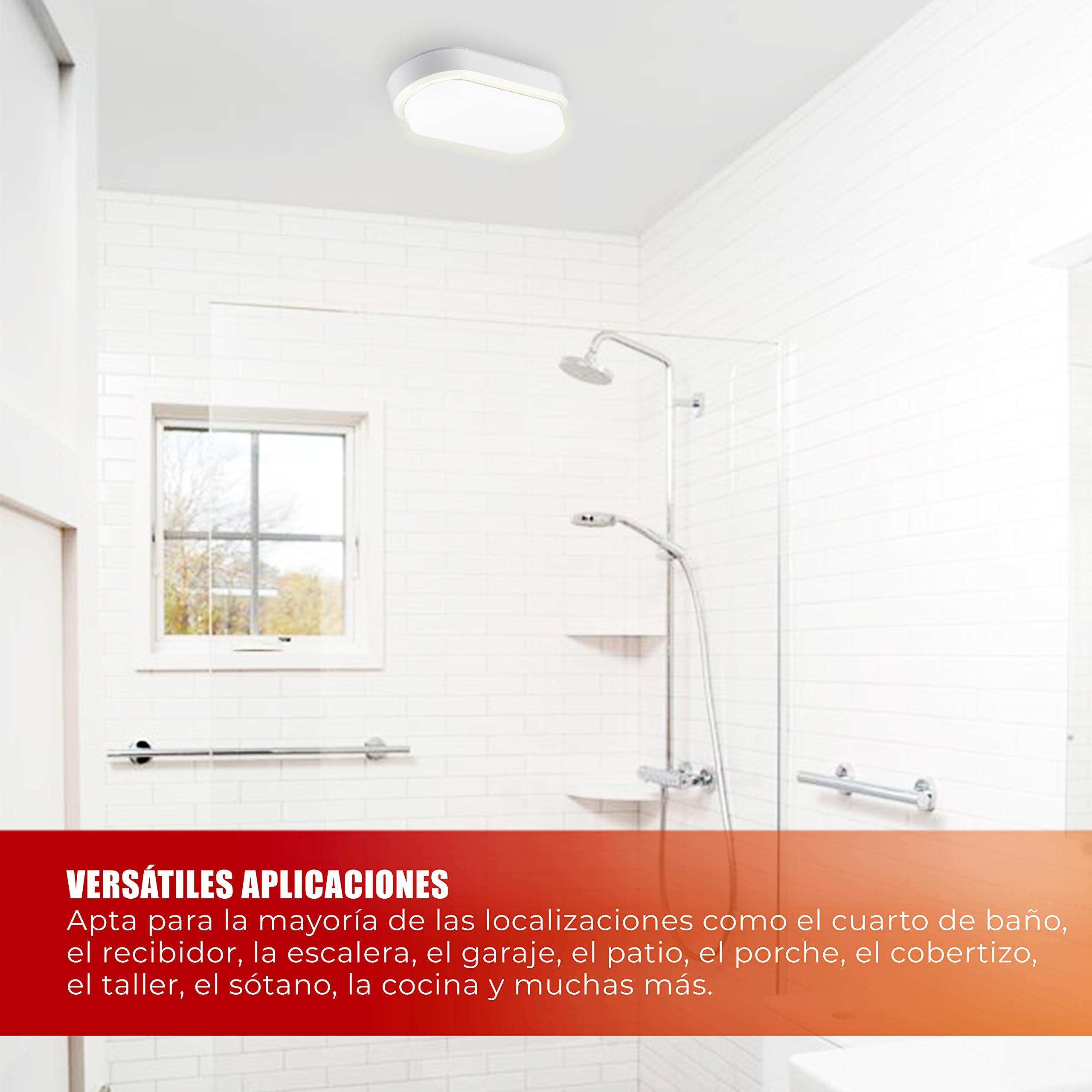 POPP®Apliques lamparas de techo LED bulkhead blanco redondo ovalado 8W 12W 16W Luz neutra 4000K interior exterior IP65 para baño Cocina Balcón Pasillo (Ovalado, 12 Watios): Amazon.es: Iluminación