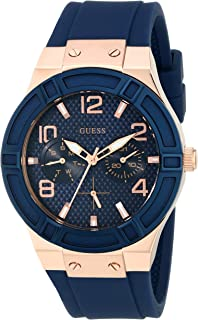 GUESS Womens Stainless Steel Silicone Casual Watch, Color: Rose Gold-Tone/Rigor