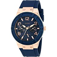 GUESS  Comfortable Rose Gold-Tone + Iconic Blue Stain Resistant Silicone Strap with Day + Date...