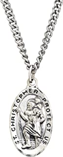 """St. Christopher Medallion Necklace in Sterling Silver & Stainless Steel, 24"""""""