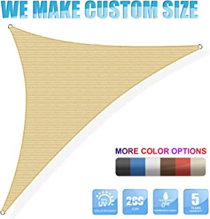 Amgo 16' x 16' x 22.6' Beige Sun Shade Sail Right Triangle Canopy Awning Shelter Fabric Screen - UV Block UV Resistant Heavy Duty Commercial Grade - Outdoor Patio Carport - (We Customize)