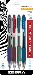 Zebra Pen Sarasa X20 Retractable Gel Ink Pens, Medium Point 0.7mm, Fashion Assorted Color Rapid Dry Ink, 4 Pack (Packaging may vary)