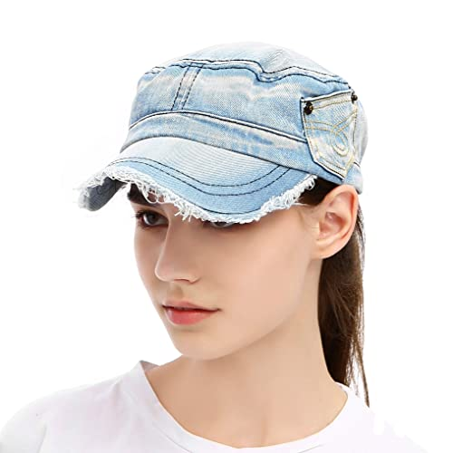 f61ae6116b1 Vintage Washed Denim Cotton Peaked Baseball Cap Distressed Cadet Army Cap  Military Hat Visor Flat Top