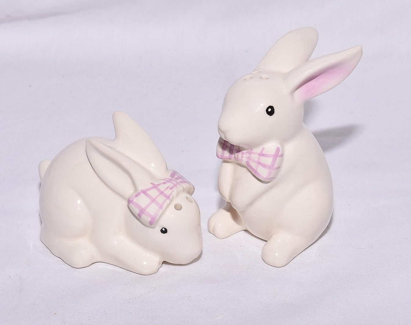 New Adorable White Bunny Rabbit Rabbits with Lavender Bow Tie Decorative Salt & Pepper Shaker Set