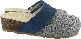 Silfer Shoes - Made in Italy - Scarpa - Zoccolo - Sabot in Vero Sughero,Lana, Tessuto e Pelle di camoscio, Colore Grigio/J...