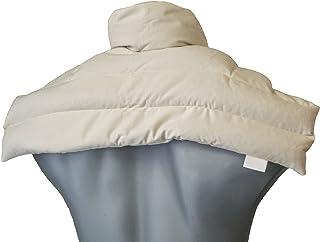 Cojín nuca y hombros con cuello (algodón orgánico blanco natural) - Saco térmico de semillas - Almohada cuello - Semillas de grosella -