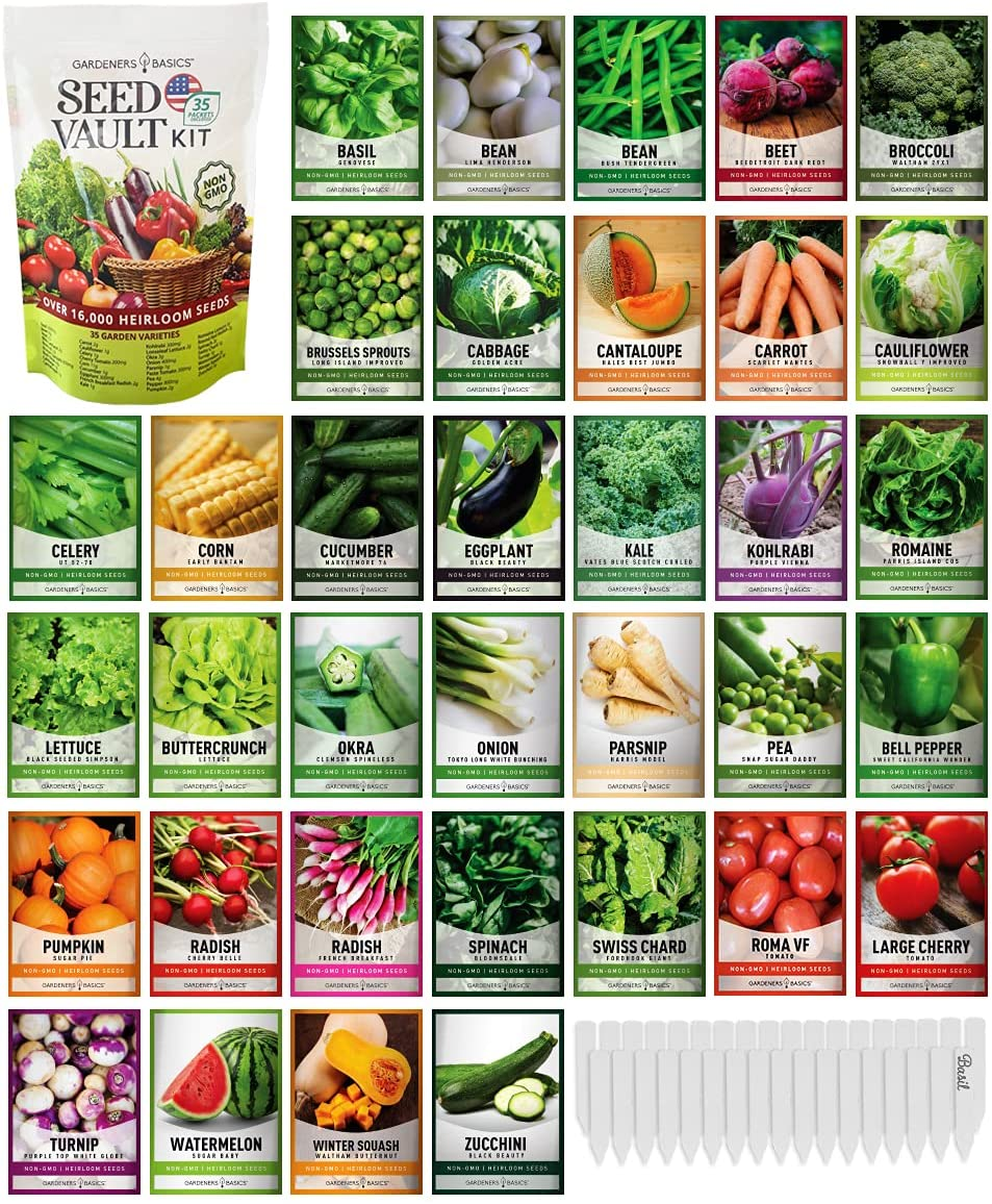 Survival Vegetable Seeds Garden Kit Non-GMO Max Year-end gift 40% OFF 16 Over 000 an