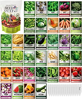 Survival Vegetable Seeds Garden Kit بیش از 16000 بذر غیر GMO و میراث فرهنگی ، مناسب برای بوته های اضطراری Survival Gear 35 انواع بذر برای کاشت سبزیجات 35 نشانگر بوته رایگان مبانی باغبان