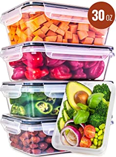 Food Storage Containers with Lids - Food Containers with Lids Plastic Containers with Lids [5 Pack, 30 Ounce] - Leak Proof Lunch Containers Plastic Storage Containers with Lids - Meal Prep Containers